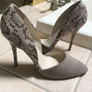 Python and suede pumps